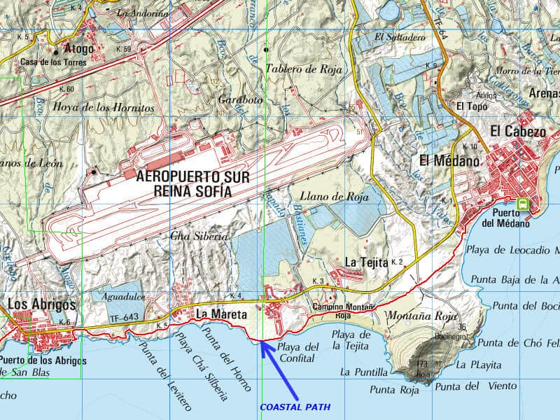 Los Abrigos to El Medano Coastal Path Map